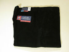 34 X 36 EXPANDABLE WAIST FLAT FRONT CROFT & BARROW CORDS -BLACK- NWT