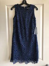 Karl Lagerfeld Lace Overlay Shift Dress, Navy, Size 4