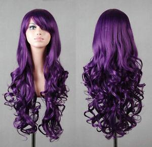 New Fashion Charming Long Dark Purple Hair Curly Cosplay Wig Full Wig