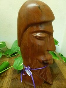 Vintage Hand Carved Wood Sculpture of Man Tangiers Morocco 1999 11 Inch