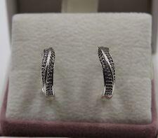 AUTHENTIC PANDORA Elegant Waves Hoop Earrings 297097CZ  #1409
