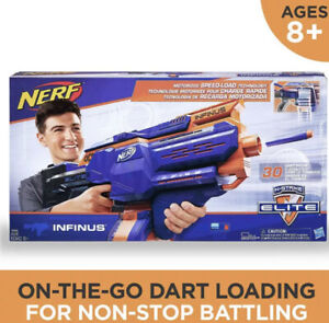 NERF Infinus Elite N-Strike Motorized Blaster Toy with Speed-Load Technology NEW