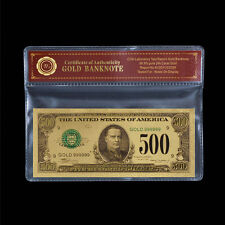 WR US $500 Dollar American Gold Foil Banknote for Collection /w Free COA Gifts