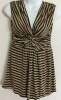 Max Studio striped sleeveless Women's Top Medium brown tan NWT msrp $69