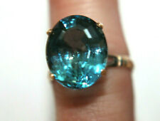 Vintage 14K Yellow Gold Faceted Blue Stone Ring Sz 7.75