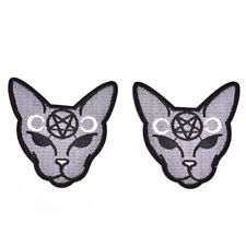 Gothic Cat Sew Iron On Patch Embroidery Sewing DIY Halloween Applique ATCA