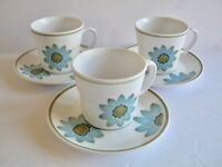 3 Sets Noritake Up Sa Daisy Cups and Saucers Progression 9001 Flowers Green Rim