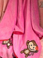 Brand New Plush Extra Soft Pink Child's Travel Branket Zip Case Pouch Monkey