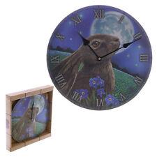 Wanduhr Hase Mond 30cm Bilderuhr Uhr rund Motivuhr Deko Magie Fotouhr Mystik NEU