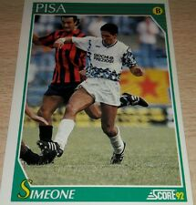 CARD SCORE 1992 PISA SIMEONE CALCIO FOOTBALL SOCCER ALBUM
