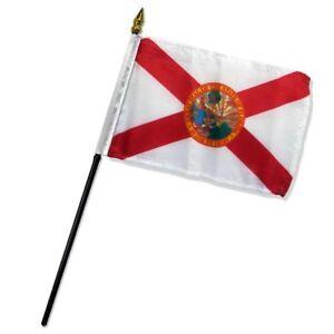 "Florida State Seal Flag 4""x6"" Desk Table Stick (sewn edges)"