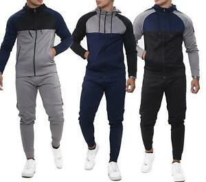 Mens Colour Block Full Zip Hooded Slim Fit Joggers Tracksuit Stretch Set