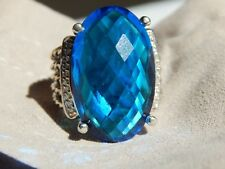 DAVID YURMAN WHEATON/BLUE TOPAZ DIAMOND STERLING 26X16 RING