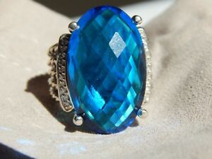 DAVID YURMAN WHEATON/BLUE TOPAZ DIAMOND STERLING 26X16 RING