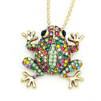 Betsey Johnson Colorful Crystal Frog Charm Pendant Chain Necklace/Brooch Pin