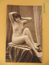 Orig French 1910's-1930's RPPC Postcard Nude Erotic Pretty Lady Statue like #52