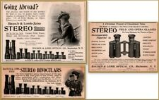 3 1890's Bausch Lomb co Stereo Glasses Field Opera  Binoculars Women Print Ads