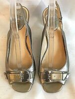 COLE HAAN N Air Gold Leather Slingback Open Toe Heels Pumps Women's Shoes 10.5AA