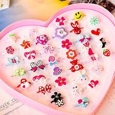 2Pcs Girls Adjustable Cartoon Crystal Rings Sweet Jewelry Children Gifts
