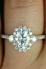 14K Solid White Gold Ring 2CT Oval D/VVS1 Diamond Halo Wedding Engagement Rings