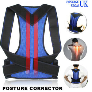 Posture Corrector Back Support Brace Shoulder Straightener Belt Blue