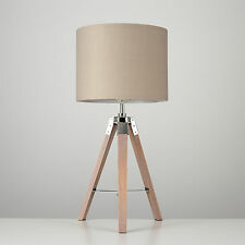 Modern Industrial Wooden Nautical Tripod Table Lamp Beige Shade Lounge Light
