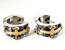 Gold Medieval Cross Sterling 925 Silver Hoop Earrings Mens Jewelry
