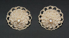 VICTORIAN SEED PEARL EARRINGS - Very Large / Non Pierced / Domed          (4C37)