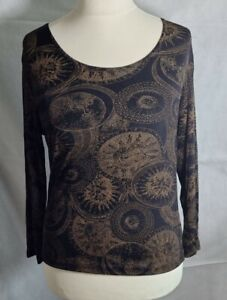 BNWOT Susan Lawrence Black And Gold Long Sleeve Stretch Top Size 10
