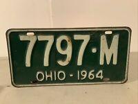 VINTAGE ORIGINAL METAL EMBOSSED OHIO LICENSE PLATE 1964