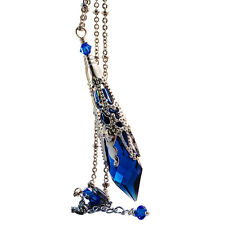 Sapphire Blue Icicle Crystal Filigree Silver-tone Pendant Necklace