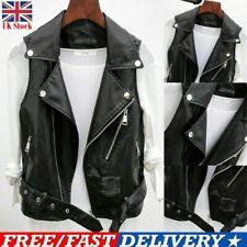 Women Faux Leather Waistcoat Gilet Biker Sleeveless Jacket Ladies Vintage Coats