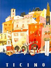 Ticino Switzerland Italian Suisse Swiss Vintage Travel Advertisement Art Poster