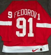 "Detroit Red Wings Fedorov Nike Center Ice Authentic Red 52 ""A"" Jersey"