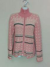 Icelandic Designs pink snowflake angora rabbit cardigan sweater, Medium, #3533
