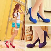 Womens Ladies Faux Suede Platform High Heel Court Pumps Shoes UK Size 1--8 D393