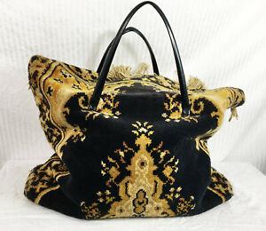 Vintage 60s REAL Carpet Bag Rag Bagg Black Gold Hippie Boho Travel