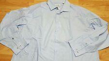 NWT CALVIN KLEIN L/S BUTTON UP SHIRT liquid cotton light blue 18 34/35 Men's XL