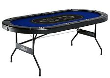 Texas Holdem Poker BlackJack Casino Table Portable 10-Player w/Rails,Cup Holders