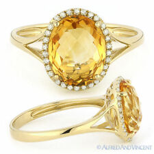 2.73ct Oval Cut Citrine Diamond Halo Engagement Cocktail Ring in 14k Yellow Gold