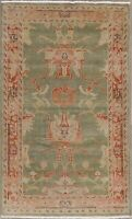 Vegetable Dye GREEN Oushak Floral Area Rug Wool Hand-Knotted 3x5 Foyer Carpet