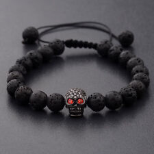luxury Man's Lava Stone Zircon Black Skull Head Beads Braided Macrame Bracelets