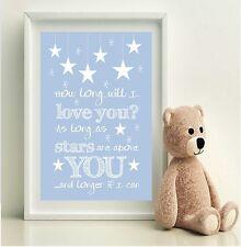 Baby Boys BLUE Nursery Print ELLIE GOULDING lyrics How long will I love you?