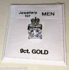 9ct WHITE GOLD Stud Earring 6mm Square created Diamond Men's Women's Made in UK