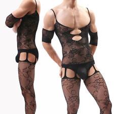 bc2bd146f8e Sissy Mens Mesh Open Crotch Bodysuit Fishnet See-Through Body Stocking  Nightwear