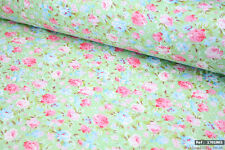 """Pink & blue roses 100% cotton fabric sold by the meter 63"""" width 1701003"""