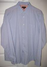 Ben Sherman Long Sleeve Mens Striped Shirt XL Blue with Pale Orange Stripes