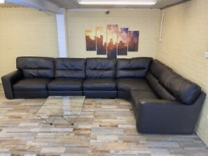 MASSIVE Modular Reversible Brown Leather Corner Sofa