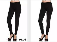 SOLID BLACK Super Soft Leggings Plus & Curvy OS fits 12-22/24w