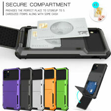 For iPhone 11 12 Pro Max XR 8 Slim Shockproof Phone Case with Card Holder Cover
